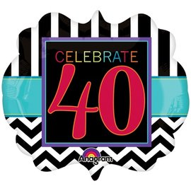 "Foil Balloon - Celebrate 40 Chevron - 25""x22"""