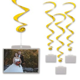"Danglers-Foil Swirl-Golden with Photo Pockets-3pkg-40"""