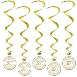 Danglers-Foil Swirl-Golden 50th Anniversary-5pkg-3.4ft