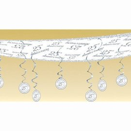 Ceiling Decor-Silver 25th Anniversary-1pkg-12ft