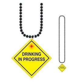 """Bead Necklace-Drinking In Progress Medallion-1pkg-33"""""""