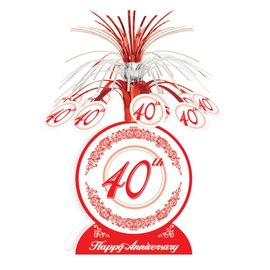 Centerpiece-Foil Cascade-Red 40th Anniversary-1pkg-13""