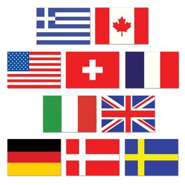 Cutouts-Mini International Flags-10pkg-4.5""