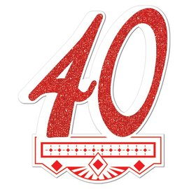 Cutout-Glitter-Red 40th Anniversary Crest-1pkg-14""