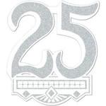 "Cutout-Glitter-Silver 25th Anniversary Crest-1pkg-14"""