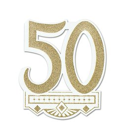 Cutout-Glitter-Golden 50th Anniversary Crest-1pkg-14""