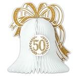 "Centerpiece-Honeycomb-Gold 50th Anniversary Bell-1pkg-10.5"""