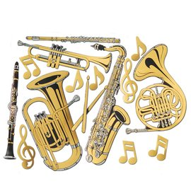 "Cutouts-Foil-Gold Instruments-15pkg-17""-23.5"""