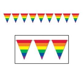 Pennant Banner-Plastic-Rainbow-1pkg-12ft