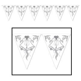 Pennant Banner-Plastic-Wedding Bells-1pkg-12ft