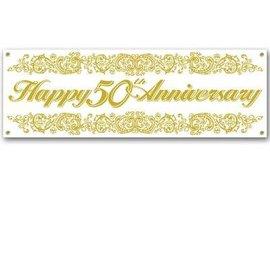 Banner- Happy 50th Anniversary- Gold