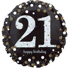 "Foil Balloon - Happy Birthday 21 Sparkle - 18"""
