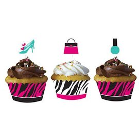 Cupcake Wraps & Toppers-Pink Zebra Boutique-12pkg