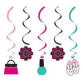 "Danglers-Foil Swirl-Pink Zebra Boutique-5pkg-19""-25"""
