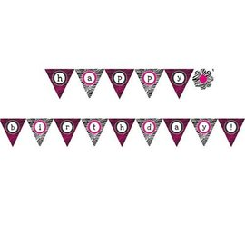 Flag Banner-Plastic-Pink Zebra-1pkg-13ft