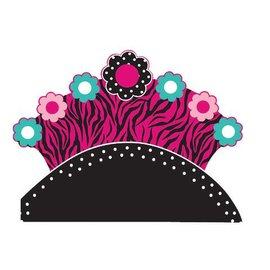 Marabou Tiara-Pink Zebra-1pkg-Paper