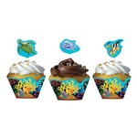 Cupcake Wraps & Toppers-Ocean Party-12pkg
