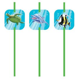 Plastic Straws-Ocean Party-6pkg-8.25""