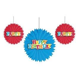 """Tissue Fans- Birthday Celebration- 3pk/12"""" & 8"""""""