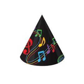 Hats-Cone-Dancing Musical Notes-8pkg-Paper