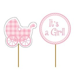 """Cupcake Toppers-Pink It's a Girl-12pkg-2""""x3.5"""""""