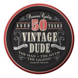 Plate-LN-Vintage Dude 50th-8pkg-Paper - Discontinued