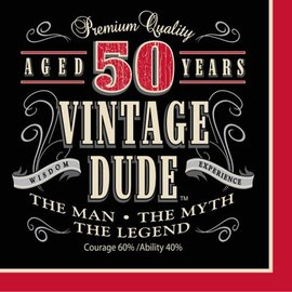 Luncheon Napkins-Vintage Dude 50th- Discontinued