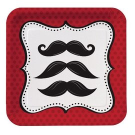 Plates-BEV-Mustache Madness-8pkg- - Discontinued