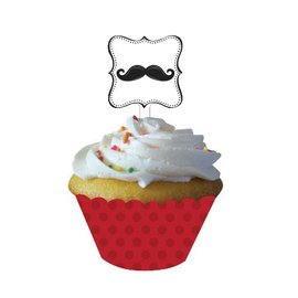 Cupcake Wraps & Toppers-Mustache Madness-12pkg