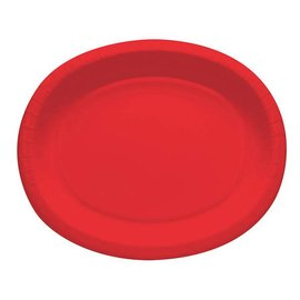Oval Plates-Red-8pkg-Paper