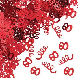 Confetti-Foil-Red Age 60 Swirls-1pkg-14g