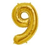 "Foil Balloon - Gold # 9 - 34"""