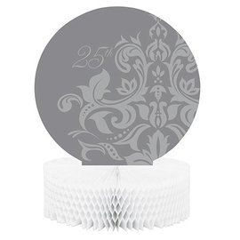 Centerpiece-Honeycomb-Silver 25th Anniversary-1pkg-11.75""