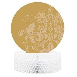 "Centerpiece-Honeycomb-Golden 50th Anniversary-1pkg-11.75"""