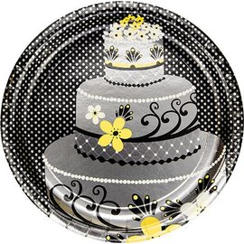 Plates-DN-Chic Wedding Cake-8pkg-Foil (Discontinued)
