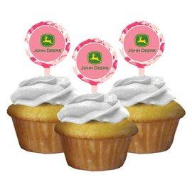 Cupcake Toppers-Pink John Deere-12pkg