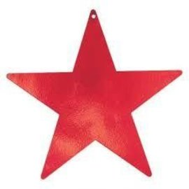 "Cutout - Foil - Star - Red - 5"" - 12pc"