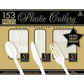 Cutlery-Heavy Weight-White-153pkg-Plastic
