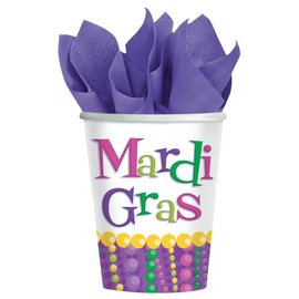 Cups- Mardi Gras-Paper-9oz-8pk - Discontinued/Final Sale
