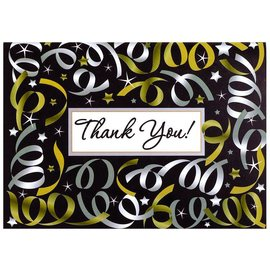 Thank You Cards-Silver Streamers-20pk/5''