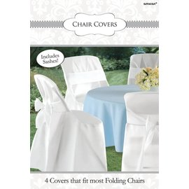 Chair Cover-Wh/With bow-4pk