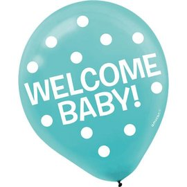 Balloons-Latex-Welcome Baby-12''-15pk