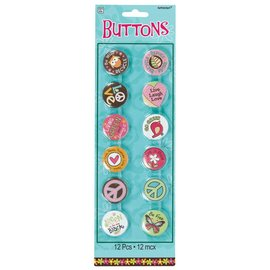 Buttons-Hippie Chick-12pk/1.75''