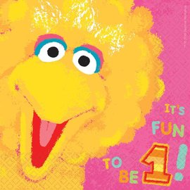 Luncheon Napkins-Sesame Street First Birthday-36pc Value Pack