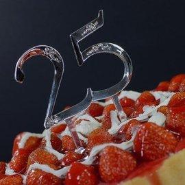 """Cake Topper-Silver 25th Anniversary-1pkg-5"""""""