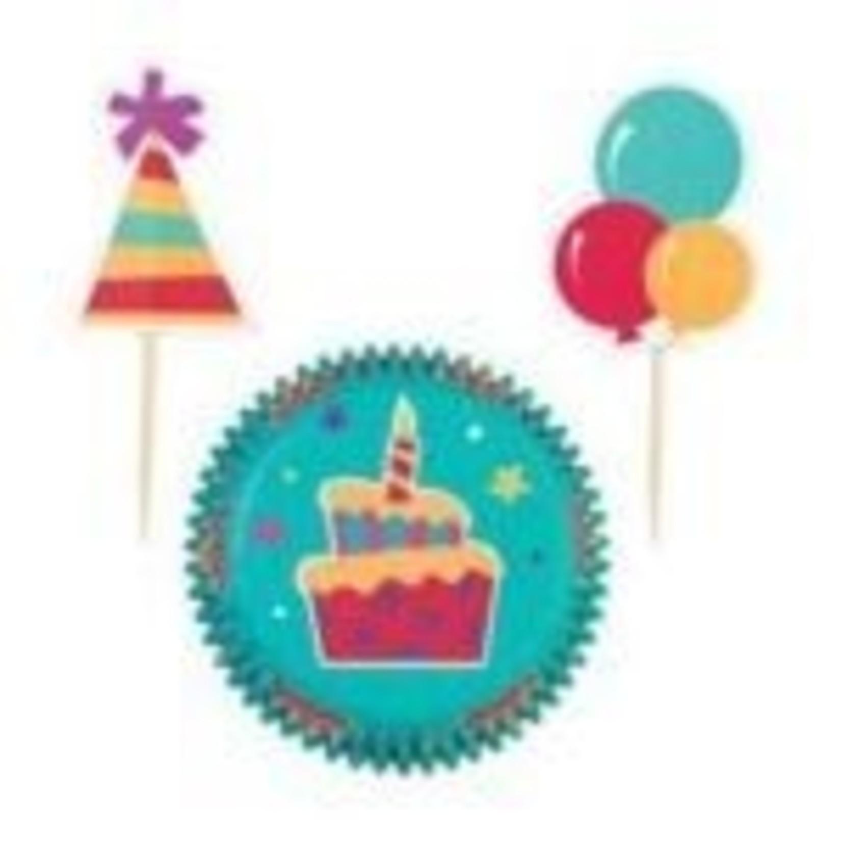 Baking Cups & Picks-Birthday Cake-24pkg