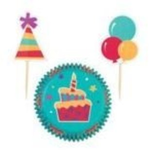 Baking Cups & Picks-Birthday Cake-24pkg
