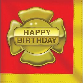 Napkins-LN-Firefighter Happy Birthday-16pkg-3ply - Discontinued