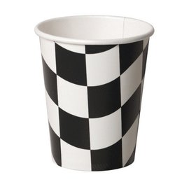 Paper Cups-Race Car Flag-8pkg-9oz - Discontinued