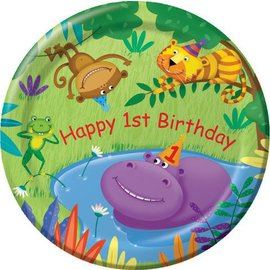 Plate-LN- Jungle Animals 1st Birthday-8pkg-Paper
